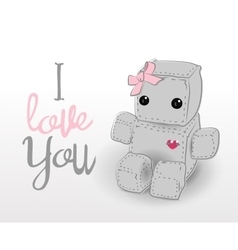 Cute felt robot girl plush toy vector