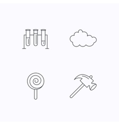 Hammer lab bulbs and weather cloud icons vector