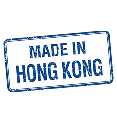 Made in hong kong blue square isolated stamp vector
