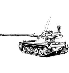 Armoured heavy tank with a powerful gun vector