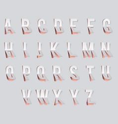 Bent paper cut font template alphabet vector