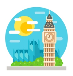 Big ben clock tower flat design landmark vector
