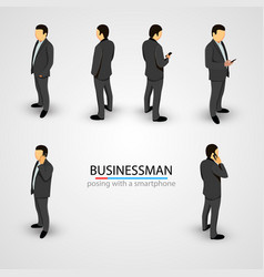 Businessman in various poses with mobile phone vector