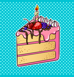 cake with candle pop art vector image