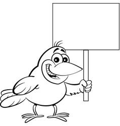Cartoon bird holding a sign vector