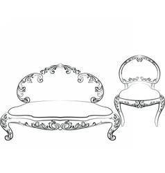 Classic royal armchair and sofa set vector