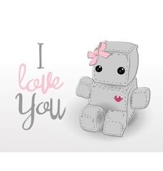 Cute felt robot girl plush toy vector image