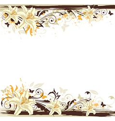 Decorative background with white lily vector image vector image