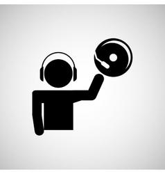 dj icon silhouette design vector image