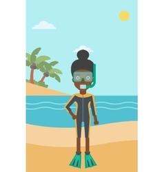 Female scuba diver on beach vector