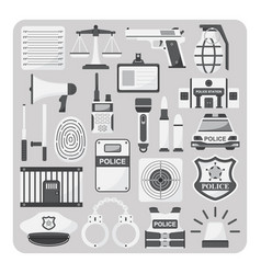 flat icon police set vector image vector image
