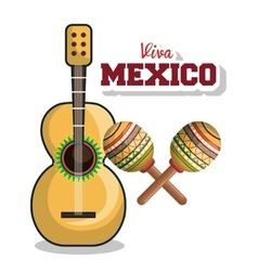 guitar and maraca viva mexico graphic vector image vector image