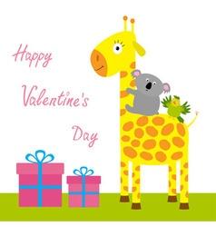 Happy Valentines Day Love card Cute giraffe koala vector image