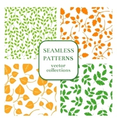 Leaves and twigs seamless patterns set vector image vector image