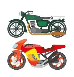 Motorcycle motorbike flat icons set vector image