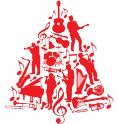 music Christmas tree vector image vector image