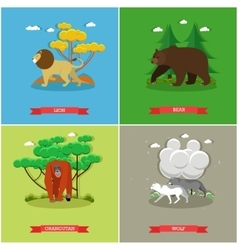 Set of animals posters lion bear vector