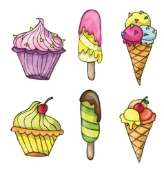 Set of colorful tasty cartoon ice cream vector image vector image