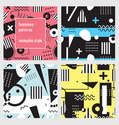 Set of seamless patterns in memphis style black vector