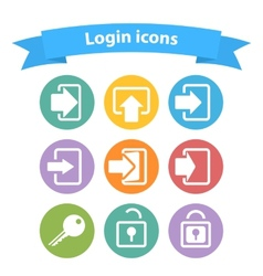 Set of white login icons with vector