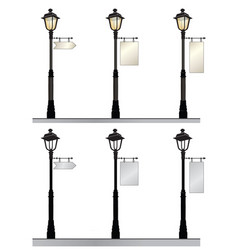 street lamp set retro street lights with a sign vector image