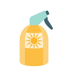 Sunscreen spray cosmetic product in yellow bottle vector