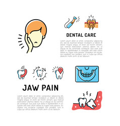 Toothache and jaw pain thin line art icons dental vector