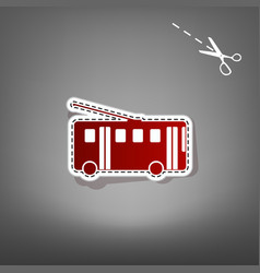 Trolleybus sign red icon with for vector