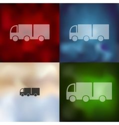 Truck icon on blurred background vector