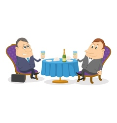 Two businessman near table isolated vector image vector image