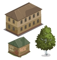 Two classic house and one green tree city vector