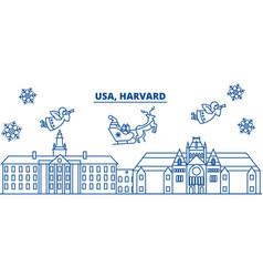 Usa massachusetts harvard winter city skyline vector