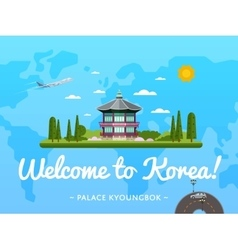 Welcome to Korea poster with famous attraction vector image vector image