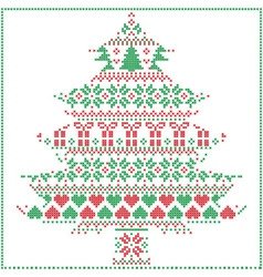 Winter pattern in christmas tree shape in red and vector
