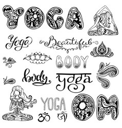 yoga set with letteringornamentyoga pose vector image