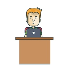 avatar man working with laptop vector image