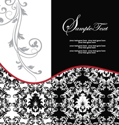 Red elegant damask wedding invitation vector