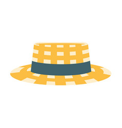 Checkered male straw hat with ribbon part of vector