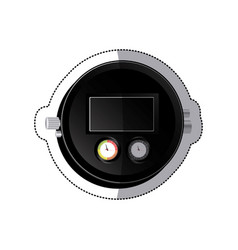 sticker black screen digital chronometer vector image