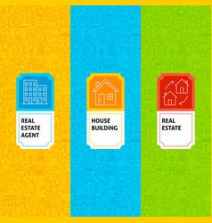 Line real estate patterns set vector