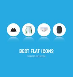 Flat icon clothes set of stylish apparel panama vector