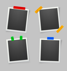 Collection of blank photo frames with adhesive vector
