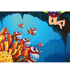 A group of fish watching the young girl vector
