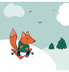 Fox skiing vector