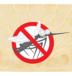 Anti mosquito sign with a funny cartoon mosquito vector