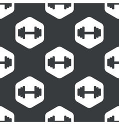 Black hexagon barbell pattern vector