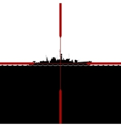 Ship in the periscope crosshairs vector