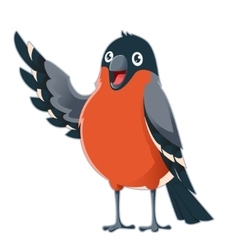 Happy cartoon bullfinch vector