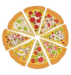 Tasty sliced pizza vector