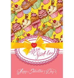 Sweet love cake card 380 vector